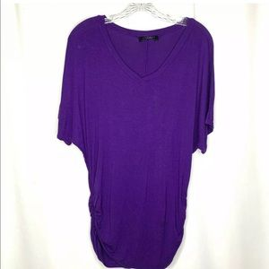 Made by Johnny Ruched Sides Top Large Purple